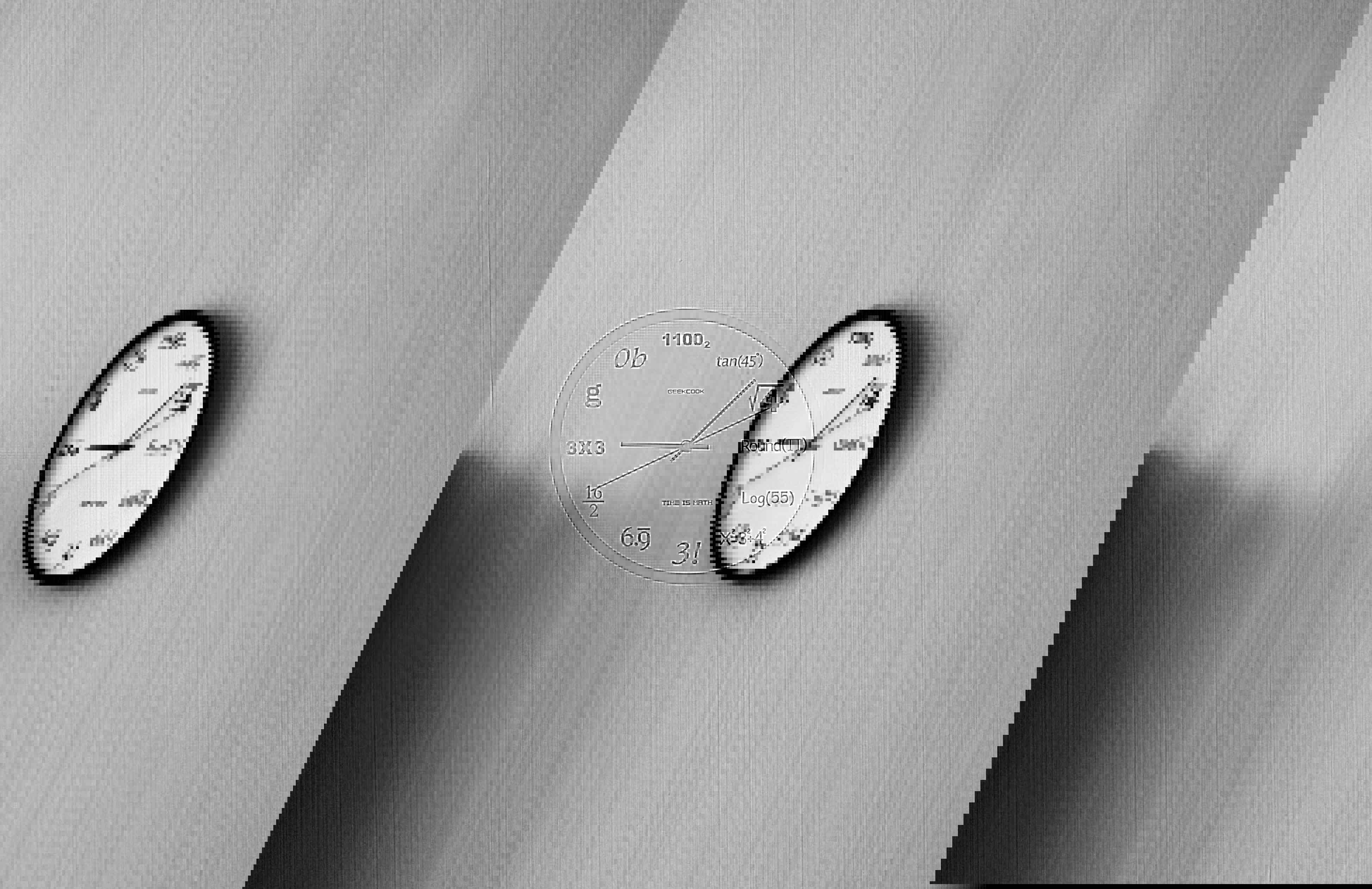Reloj en la pared con logartimos matemáticos en lugar de horas