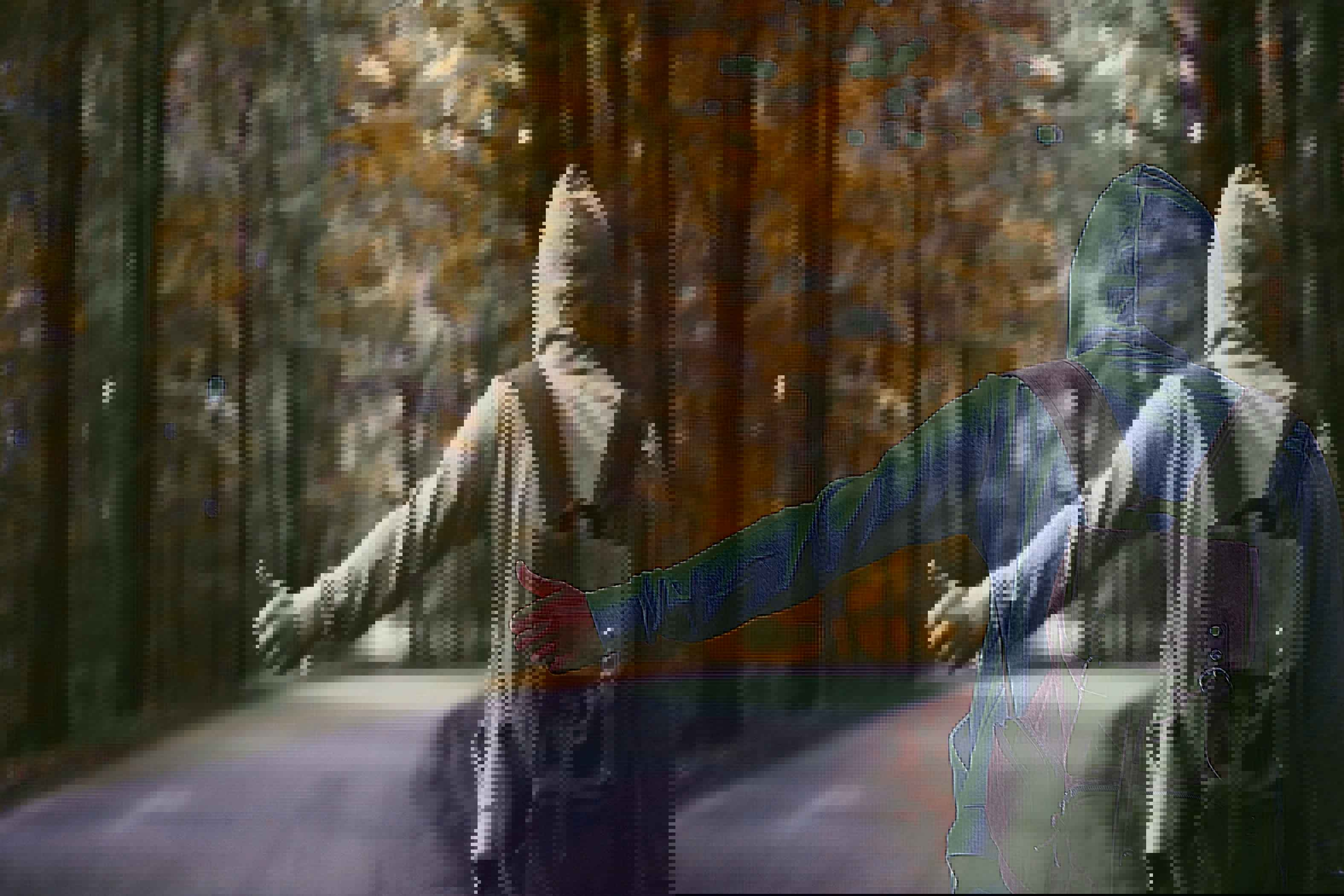 chico haciendo autostop en paisaje boscoso