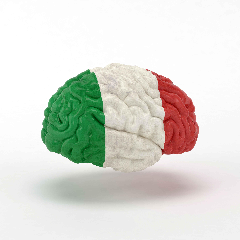 Cerebro con bandera italiana