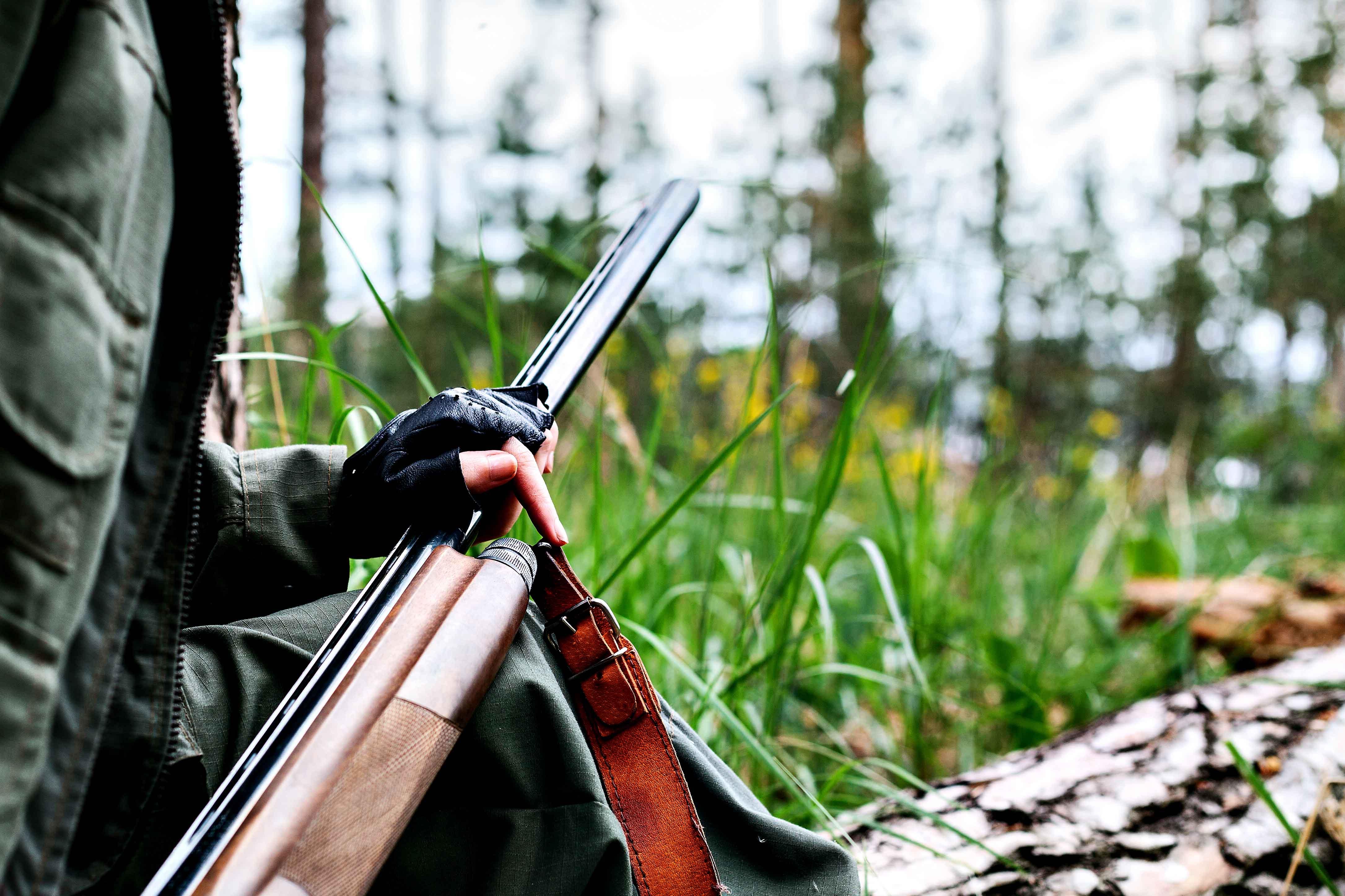 Perfil de guardia en monte con escopeta