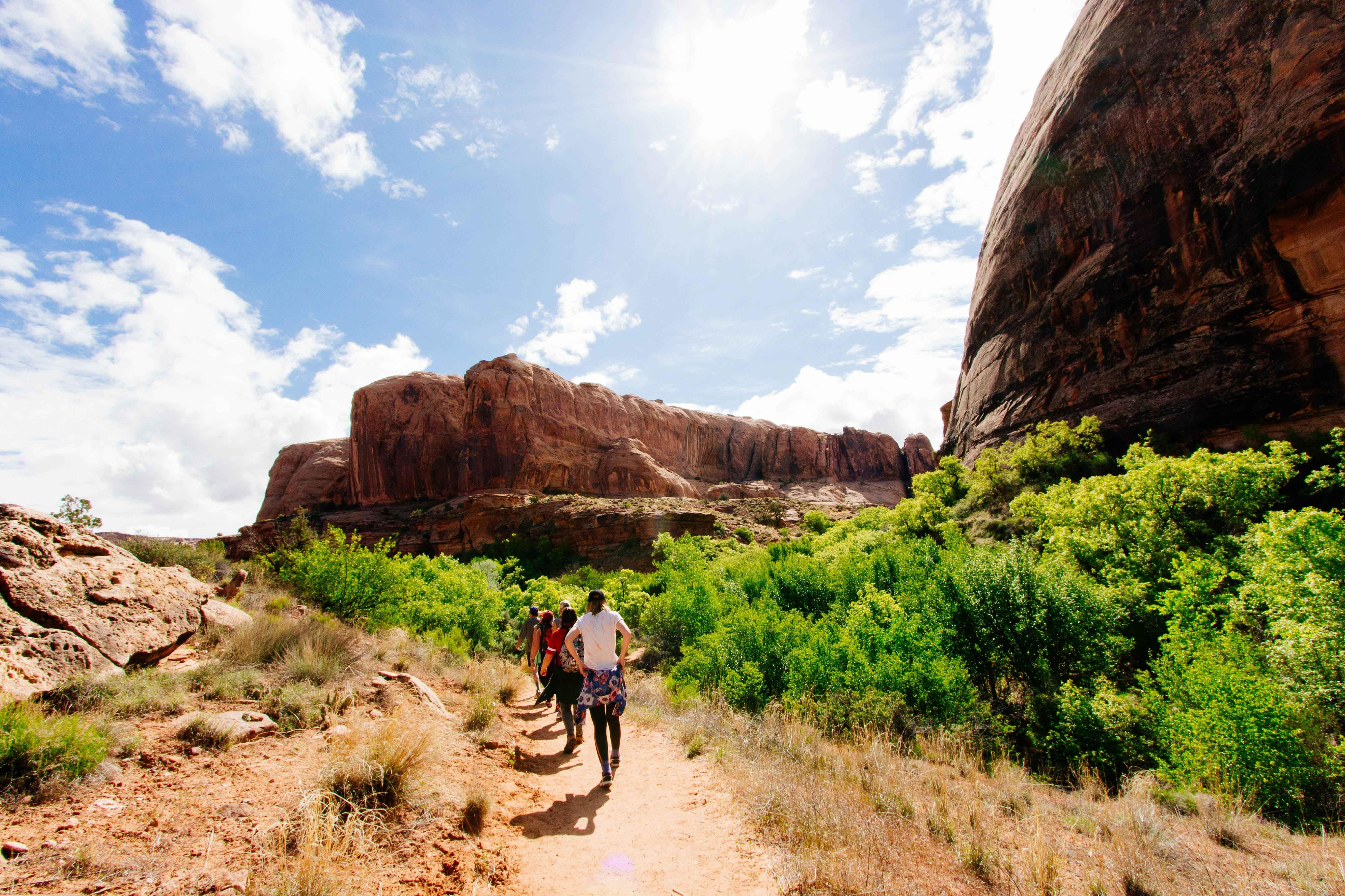 Fila de gente andando por un paisaje montañoso