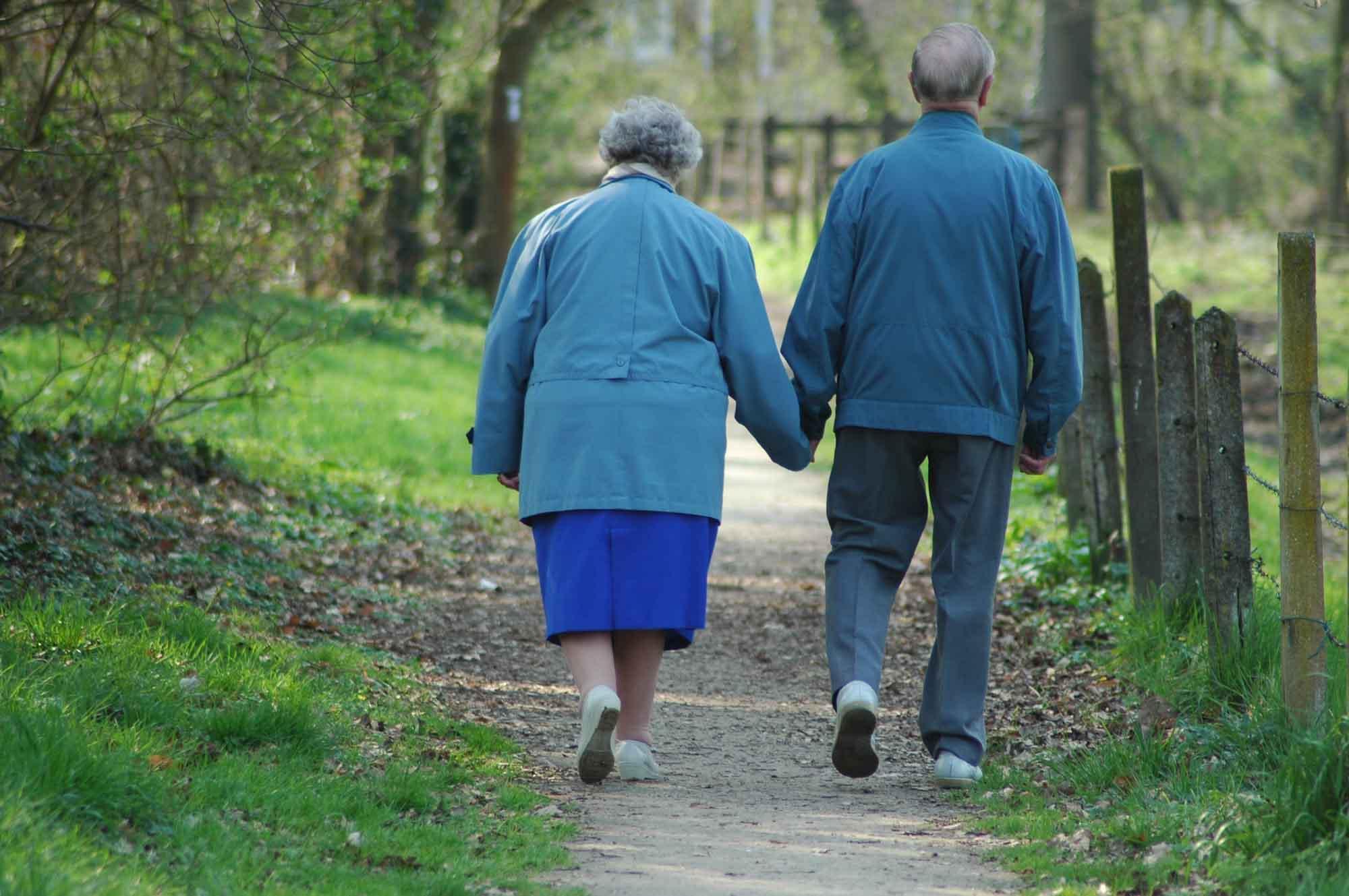 Pareja de ancianos paseando