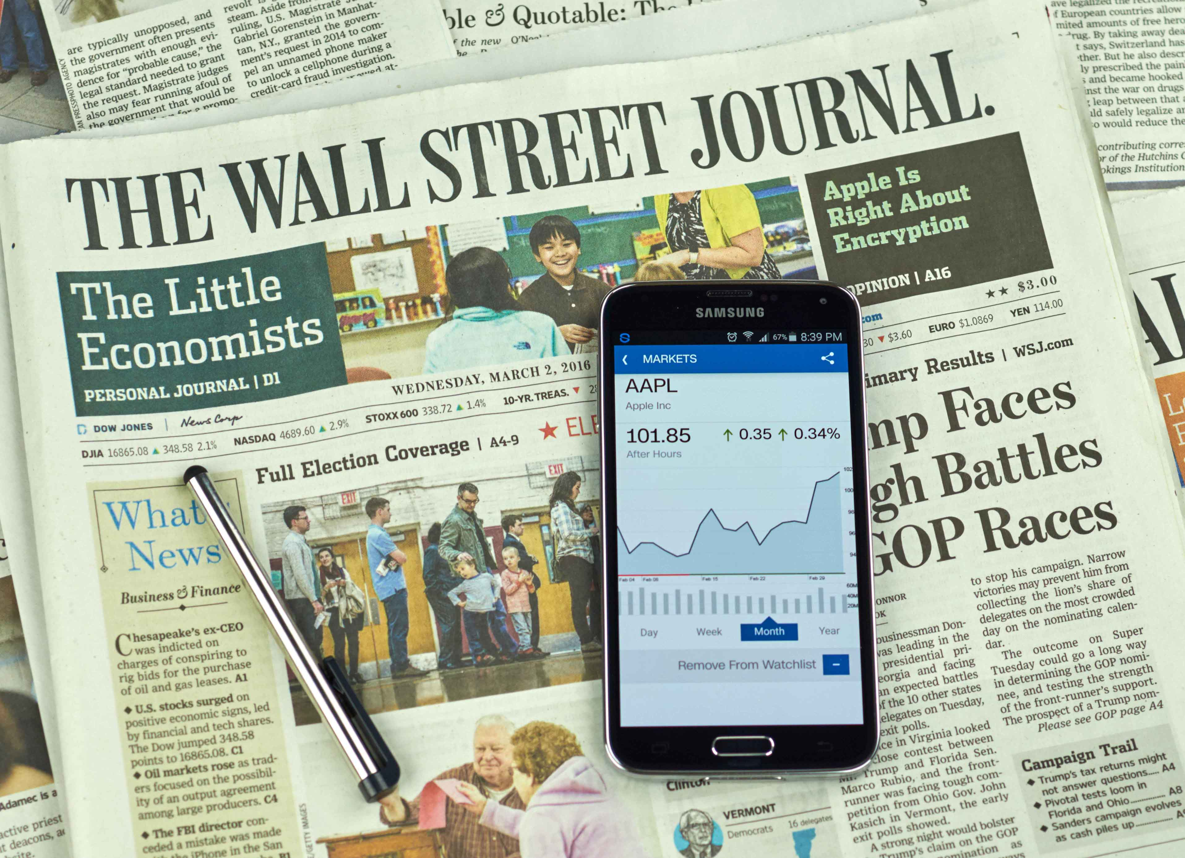 Móvil sobre periódico Wall Street Journal