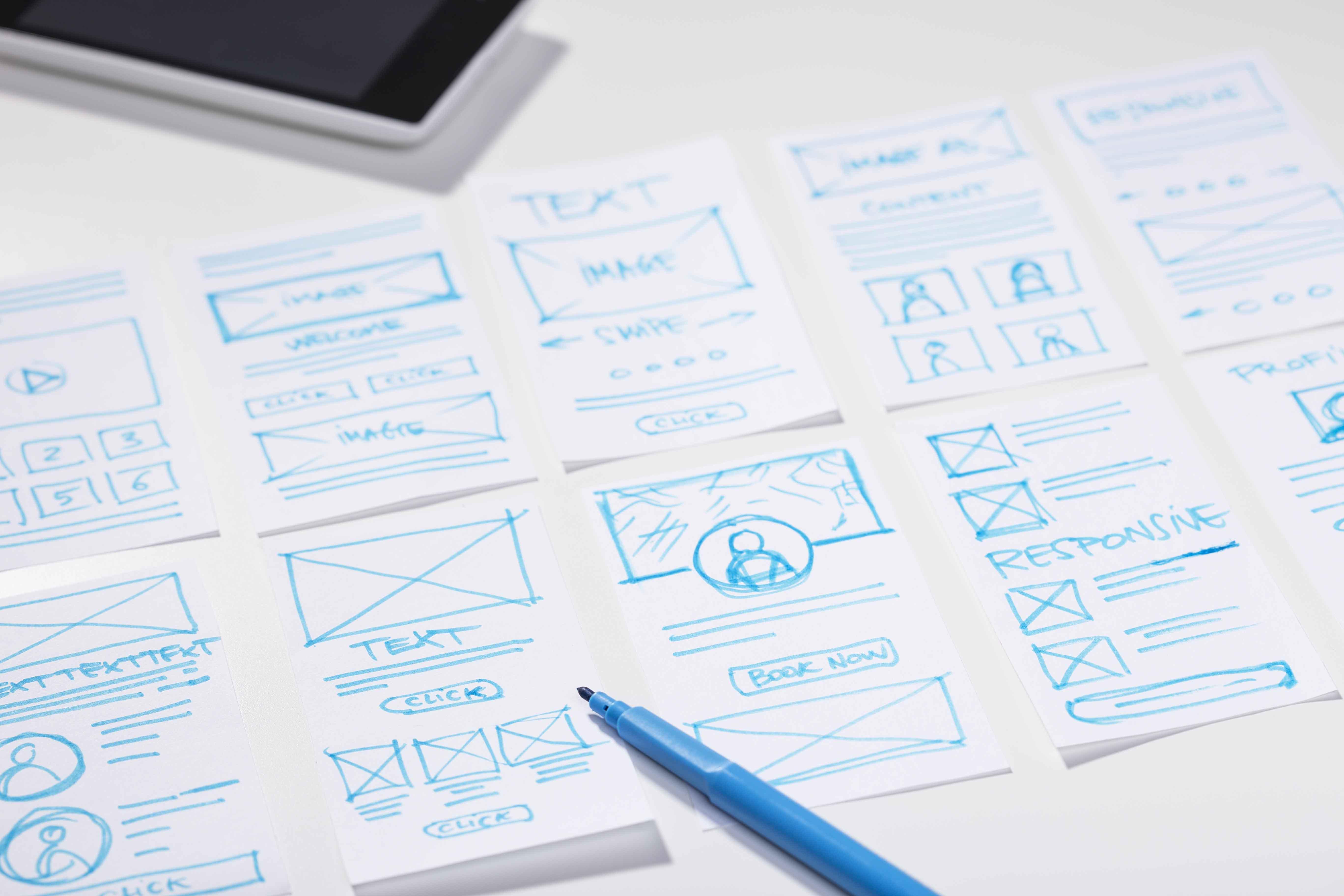 Boceto del diseño de una app